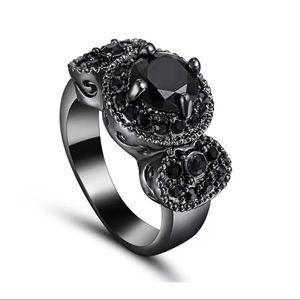Jewelry - Antique Inspired Black Rhodium Solitaire Ring SZ 6